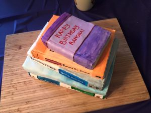 books cake 40s birthday women reading